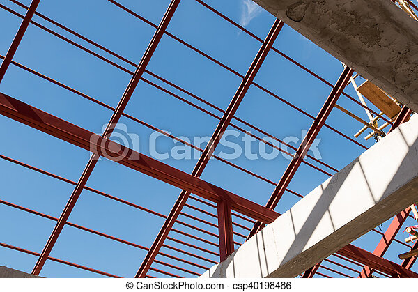 Structural Steel Beam On Roof Of Building Background Structural