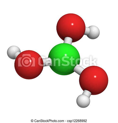 structure., (h3bo3), boric, μόριο , χημικός , οξύ  - csp12268992