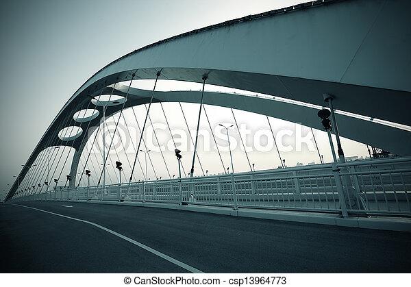 structure, nuit, pont, acier, scène - csp13964773