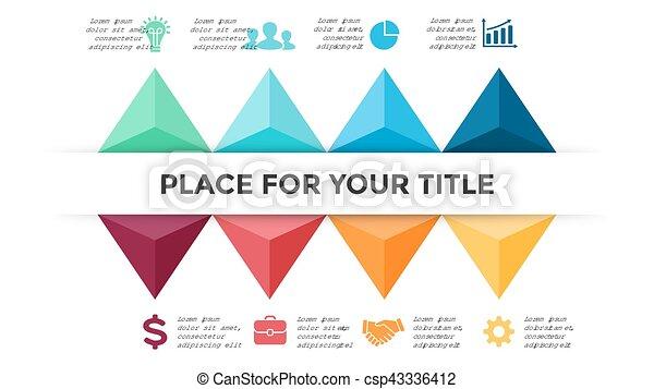 strzały, pojęcie, processes., handlowy, infographic, timeline, opcje, graph., slide., diagram, strony, wykres, wektor, 8, gotowy, kroki, prezentacja, triangle - csp43336412
