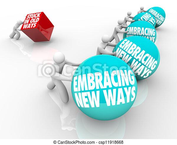 Stuck in Old Ways Vs Embracing Change Adapting New Challenge - csp11918668