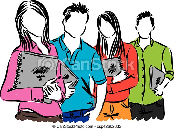 studenci, grupa, ilustracja - csp42602832