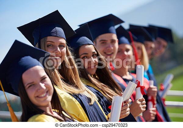 studenci, grupa, młody, absolwenci - csp29470323