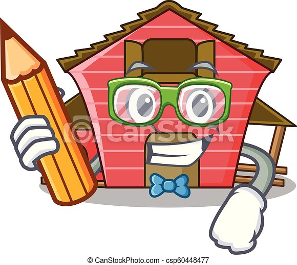 Student A Red Barn House Character Cartoon