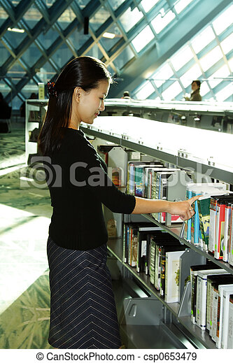 Student at library - csp0653479