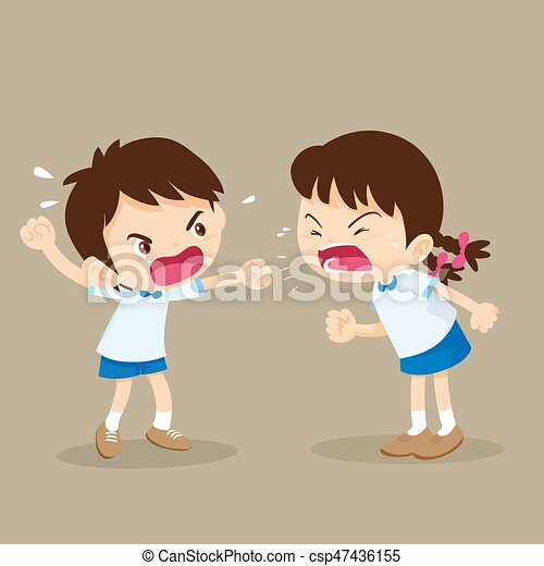 student boy and girl are quarreling - csp47436155