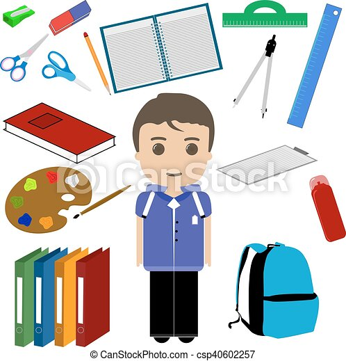 Student boy and school utensils set clipart vector search student boy and school utensils csp40602257 voltagebd Images