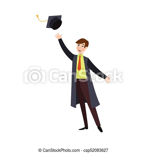 Student Boy In Graduation Gown Throwing Cap Up