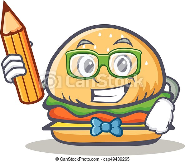 student burger character fast food with pencil vector art clip art rh canstockphoto com fast food worker clipart fast food clipart pictures