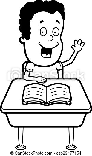student classroom a happy cartoon student at a desk in clipart rh canstockphoto com empty classroom clipart black and white empty classroom clipart black and white