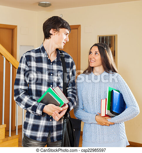 student couple at house - csp22985597