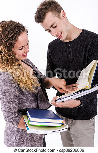 Student Couple Studying Together - csp39206006