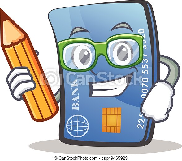 student credit card character cartoon with pencil vector illustration