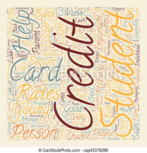 Student Credit Cards What You Should Know text background wordcloud concept - csp43376286