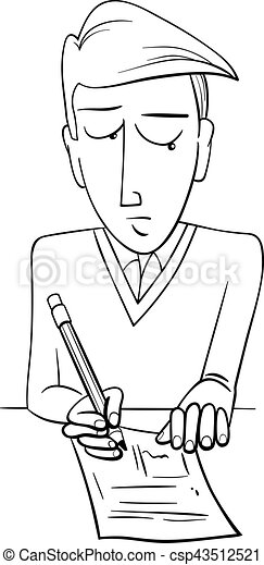 student doing test coloring page - csp43512521