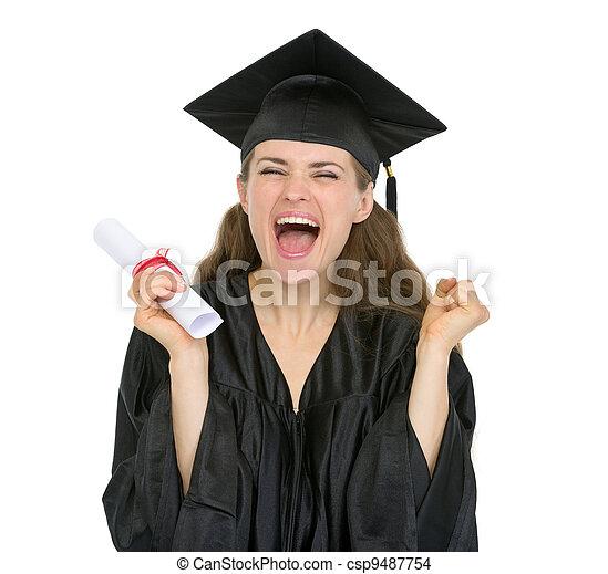 student, dziewczyna, dyplom, skala, podniecony - csp9487754