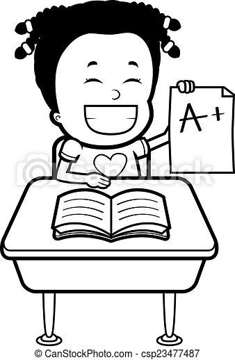 Student Grades A Happy Cartoon Student With Good Grades