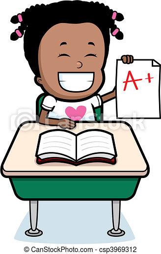 Student grades. A happy cartoon student with good grades ...