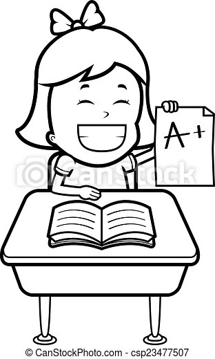 student grades a happy cartoon student with good grades vector rh canstockphoto ca
