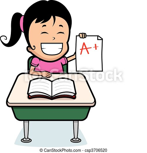 student grades a happy cartoon girl student with good grades rh canstockphoto com