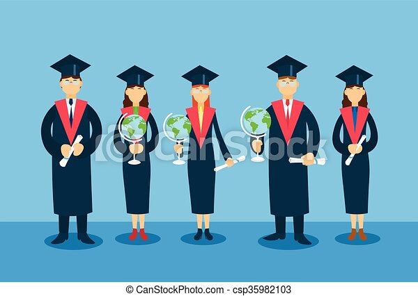 student group graduation gown hold globe paper diploma certificate
