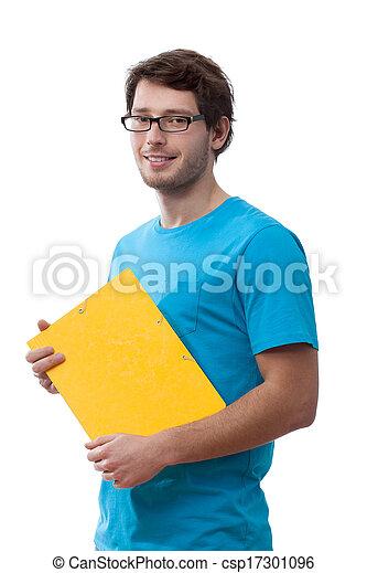 Student holding a folder - csp17301096