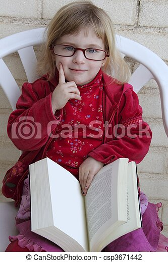 student little girl reading bood - csp3671442