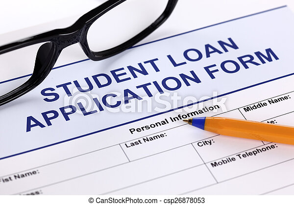 Student Loan Application Form With Glasses And Ballpoint Pen Stock