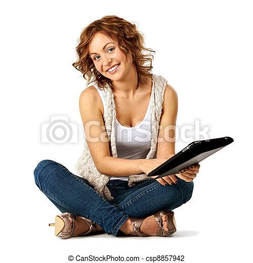 student, meisje, tablet, beauty, jonge - csp8857942