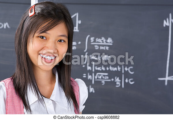 Student pose in front of blackboard - csp9608882