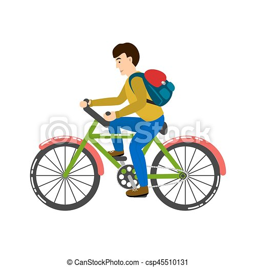 student riding a bicycle vector illustration boy on a bike with