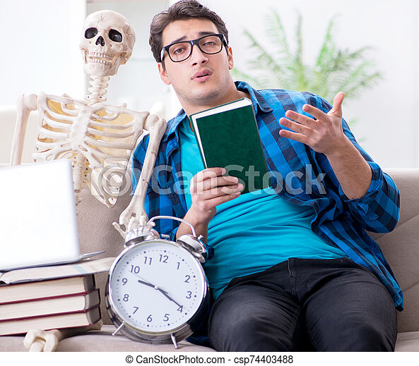 Student studying with skeleton preparing for exams - csp74403488