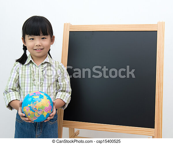 Student with globe and black board  - csp15400525