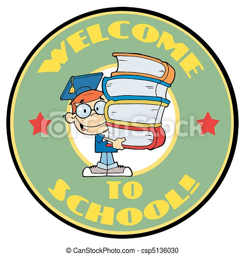Student With Text Welcome to School - csp5136030