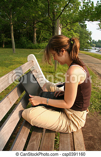 Student working on laptop - csp0391160