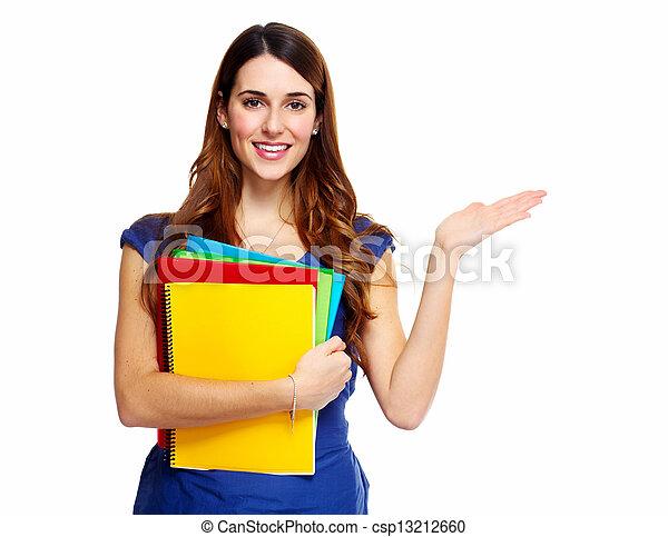 studente, donna, giovane, book. - csp13212660
