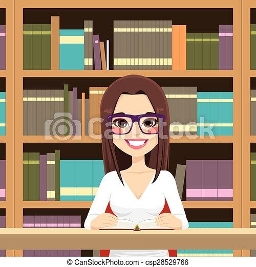 studente ragazza, biblioteca - csp28529766
