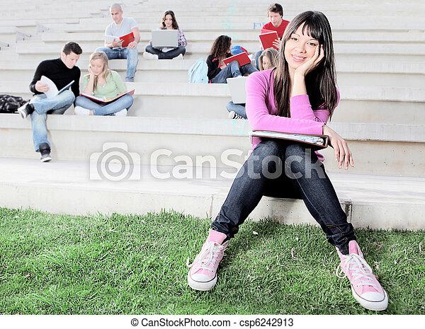 studenten, campus, arbeitende , draußen - csp6242913