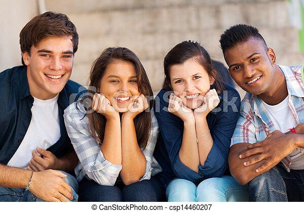 studenten, porträt, glücklich - csp14460207