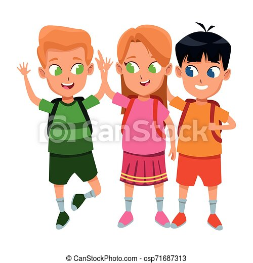 studenten, reizend, schule, kindheit, karikatur - csp71687313