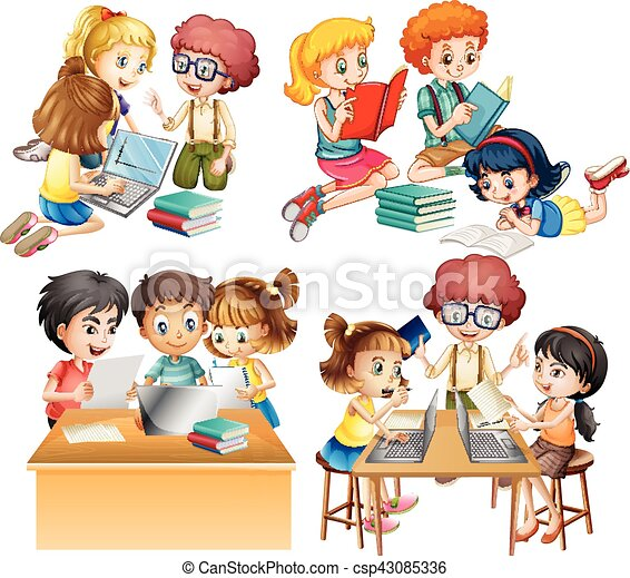 studenti  computer  gruppi  lavorativo  lettura students working together clipart Cartoon Students Working Together