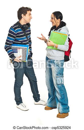 Students couple having conversation - csp5325924