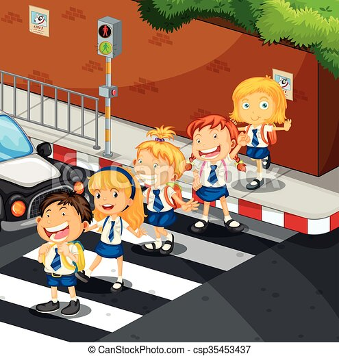 Students crossing the road - csp35453437