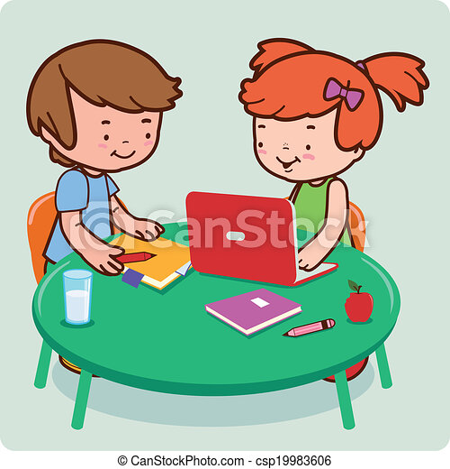 students doing research and study a female and a male young rh canstockphoto com student studying clipart black and white