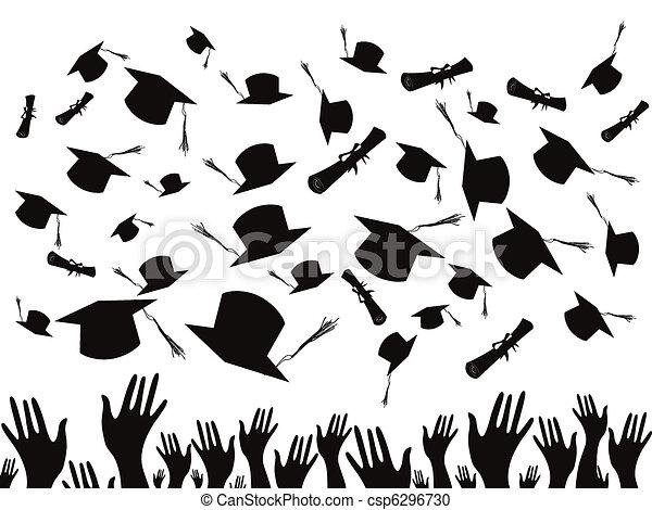 Students graduating and tossing caps - csp6296730