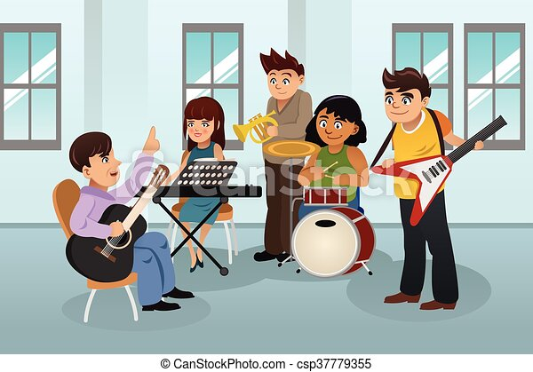 students in music class a vector illustration of students learning rh canstockphoto com Music Clip Art Illustrations Music Clip Art