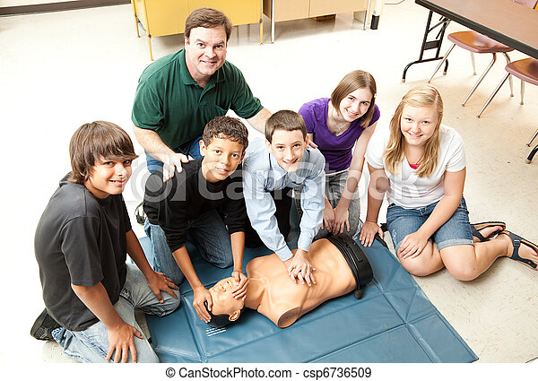 Students Learn CPR - csp6736509