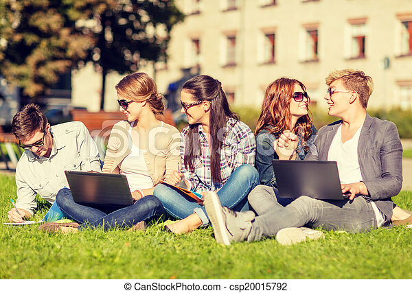 students or teenagers with laptop computers - csp20015792