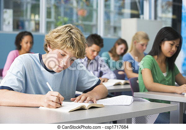 Students studying in geography class - csp1717684