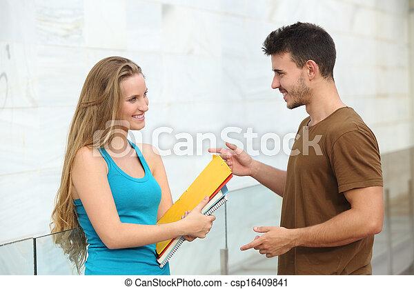 Students talking happy outdoor - csp16409841
